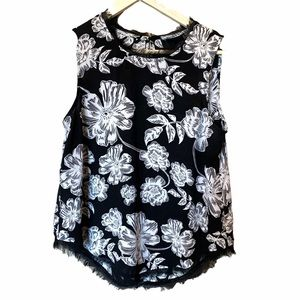 Who what wear black and white floral tank medium